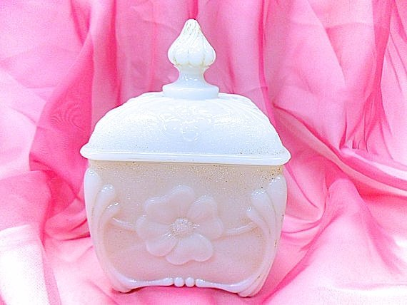Vallerysthal French Antique Opaline Glass Lidded Sugar