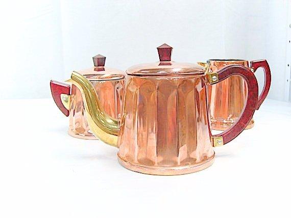 Copper 3 Piece Coffee / Tea Service