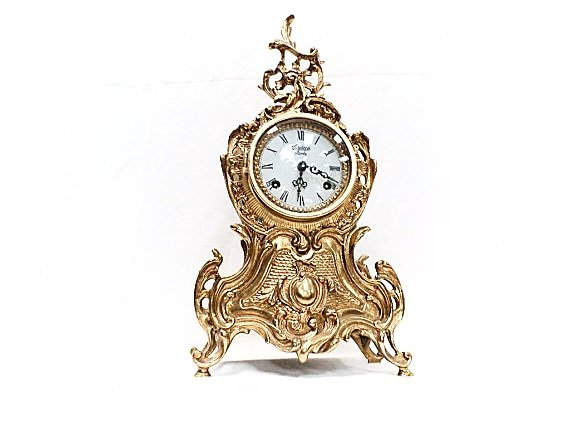 Vintage French Bronze Ormulu Rococo Rocaille Clock