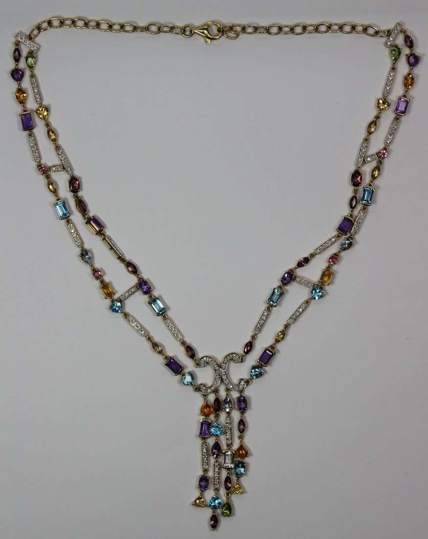 14kt Yellow Gold Mulit Colored Stone Necklace