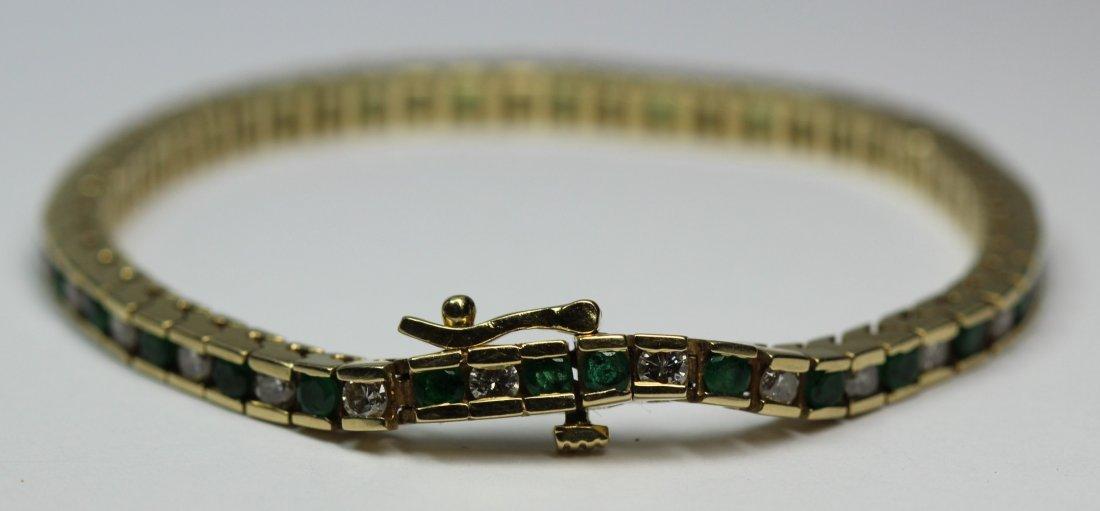 14kt Yellow Gold Tennis Emerald & Diamond Bracelet
