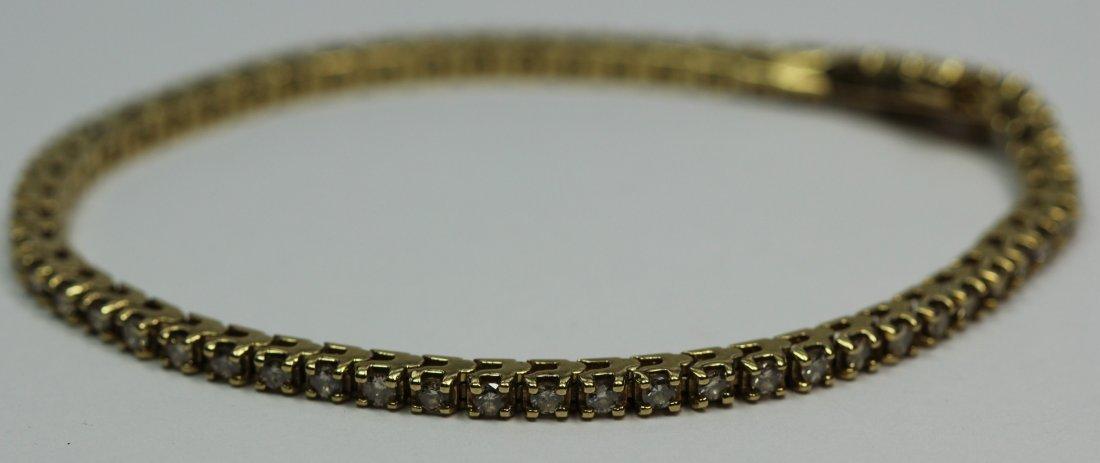 14kt Yellow Gold Tennis Diamond Bracelet