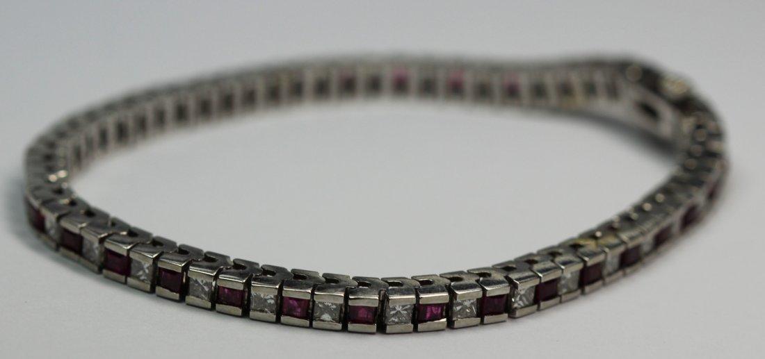 14kt White Gold Tennis Ruby & Diaomnd Bracelet