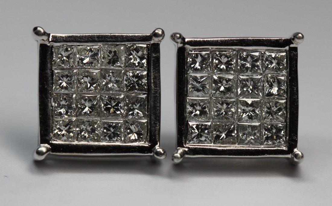 14kt White Gold Princess Cut Diaomnd Earrings