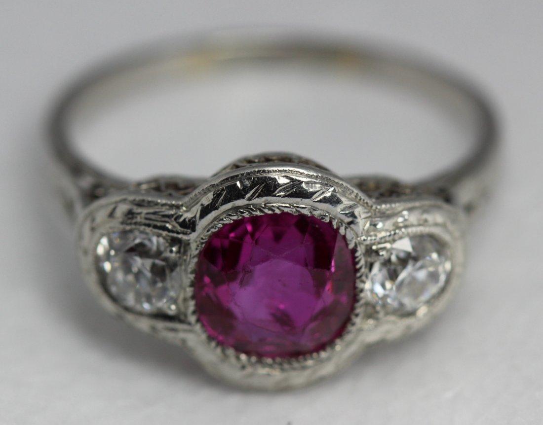 Platinum Art Deco Intense Pink Sapphire Round Brilliant