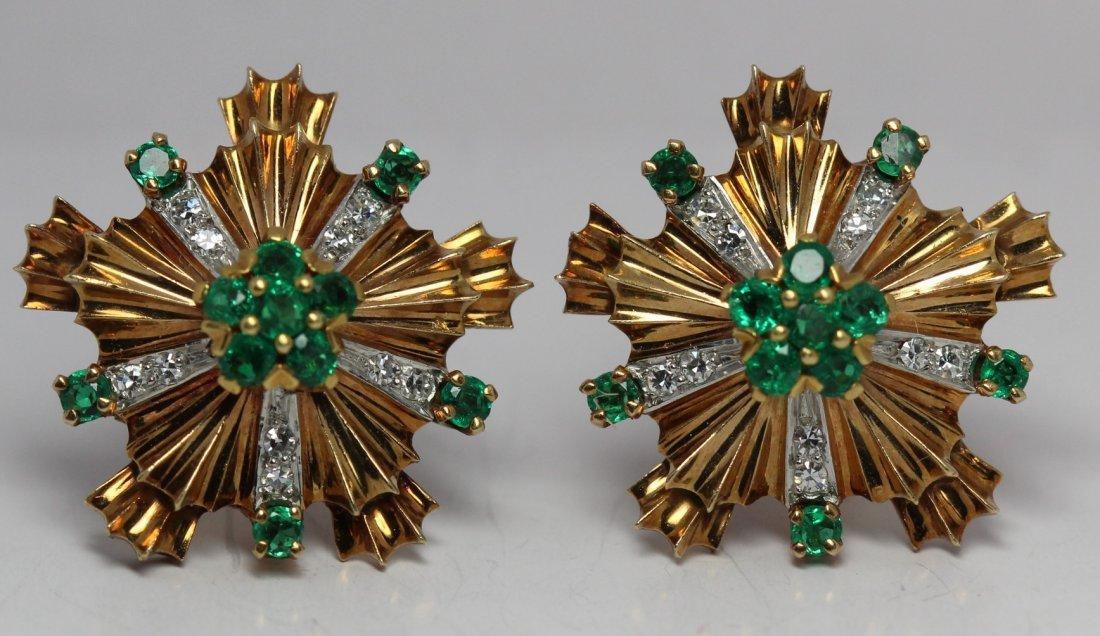 Tiffany & Co. Emerald & Single Cut Diamond Earrings