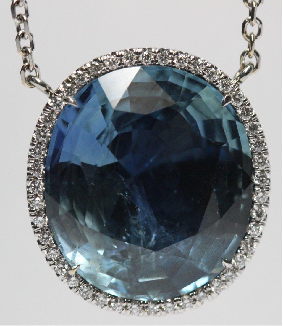 23.42cts Blue Sapphire Diamond Necklace 18kt White Gold
