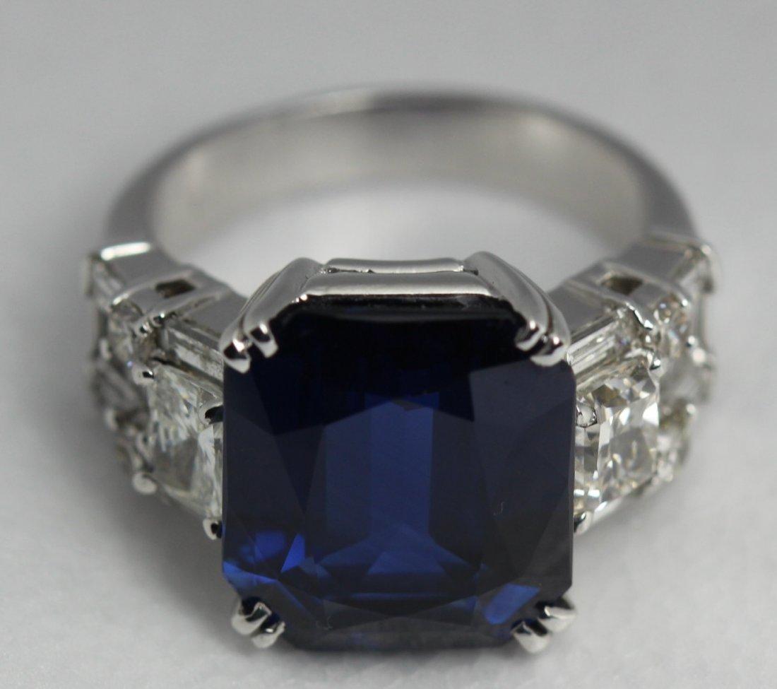 GIA 14.18cts Platinum Blue Sapphire Diamond Ring