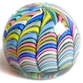 Fratelli Toso Murano Rainbow Ribbons Paperweight