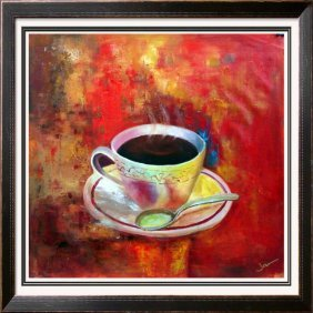 Bold Red Abstract Modern Art Coffee Brew Textured