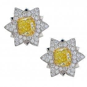 Platinum Yellow Diamond Earrings, 2.7 Ctw