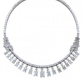 Vintage Platinum Diamond Necklace, 46 Ctw