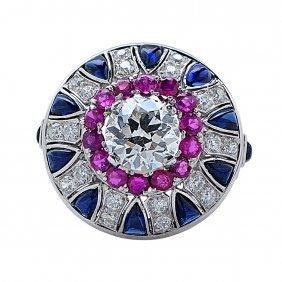 Platinum Ruby And Sapphire Diamond Ring, 6.15 Ctw