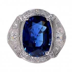 Platinum Sapphire And Diamond Ring, 7.02 Cts