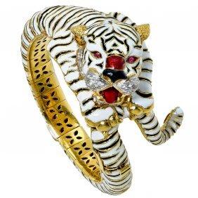 Frascarolo: 18k Gold And Enamel Ruby Diamond Bracelet
