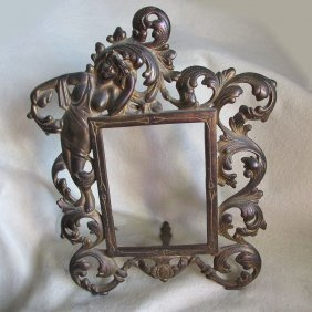 Antique Mirror, Picture Frame With Nude Lady