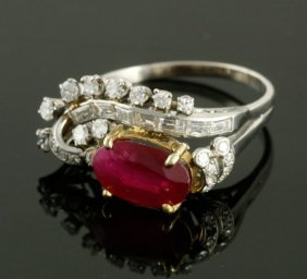 2.65 Cts Agl Cert Unheated Burmese Ruby Antique Ring