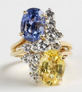 12 Ct Agl Yellow And Blue Sapphire No Heat Ring