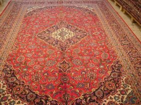 10x13 Persian Kashan Rug Hand Knotted Dense& Lustrous