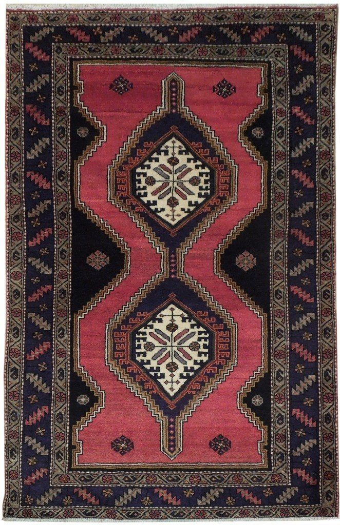 5X7 Persian Hamadan Rug Hand Knotted Original Area Rugs