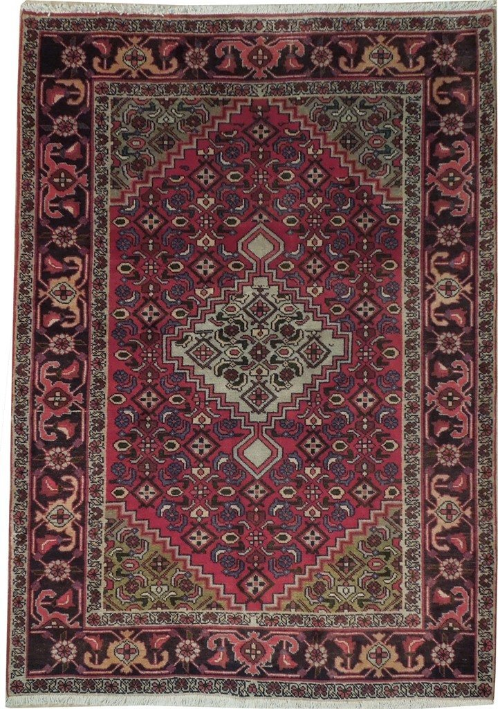 4X6 Persian Hamadan Rug Hand Knotted Oriental Rugs For