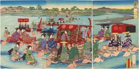 Shogun Officials Crossing A River