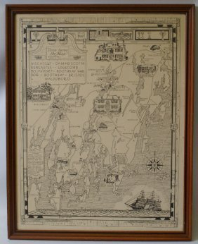 Framed 1940 Map Of New England Coastline By L.s.