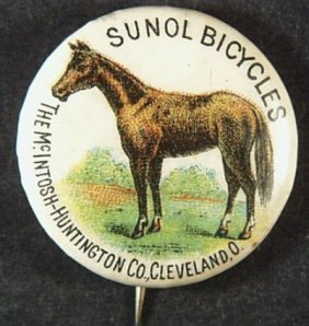 Sunol Bicycles Tin Pin Pinback Button, Mcintosh