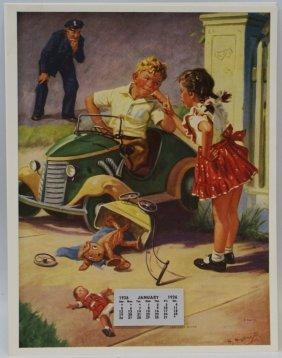 Vintage 1936 'the Last Word' Calendar And Illustration
