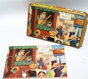 Vintage Punch And Judy No. 4 Wooden Jigsaw Puzzle By