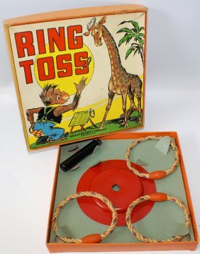 Vintage 1937 Ring Toss Game Set By Milton Bradley,