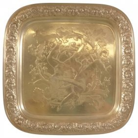 Tiffany & Co. Sterling Silver Salver Tray, Acid-etched