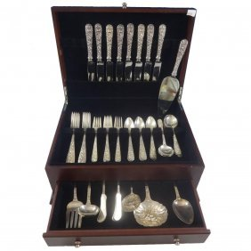Repousse By Kirk Sterling Silver Flatware Set For Eight