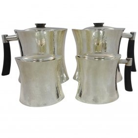 Masai By Christofle Sterling Silver Tea Coffee Set Mid