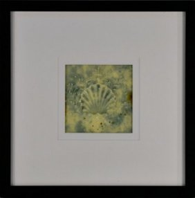 Framed Antique Shell Tile Green