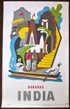 Banaras India 1957 India Travel Poster Ganges River