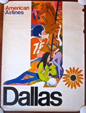 Dallas 1960's American Airlines Poster - Texas Spur