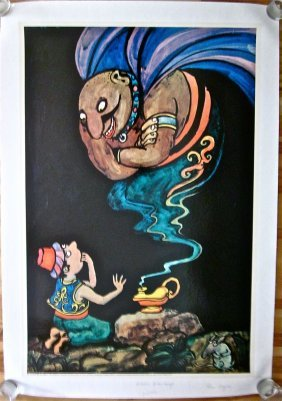 1970 Aladdin Linen Backed Poster - Great Cartoon