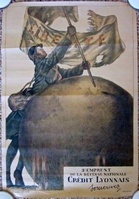 Credit Lyonnais 1915 Wwi French Poster - Liberty Flag