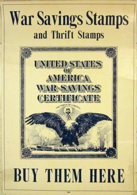 Wwi Poster - War Savings Stamps & Thrift Stamps - Money