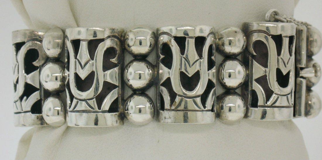 Vintage TAXCO .980 Silver Large Bracelet by MARGARITA - 2