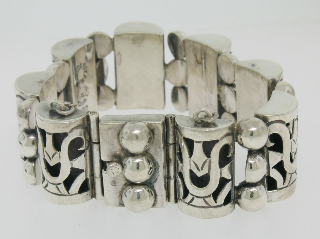 Vintage TAXCO .980 Silver Large Bracelet by MARGARITA - 3