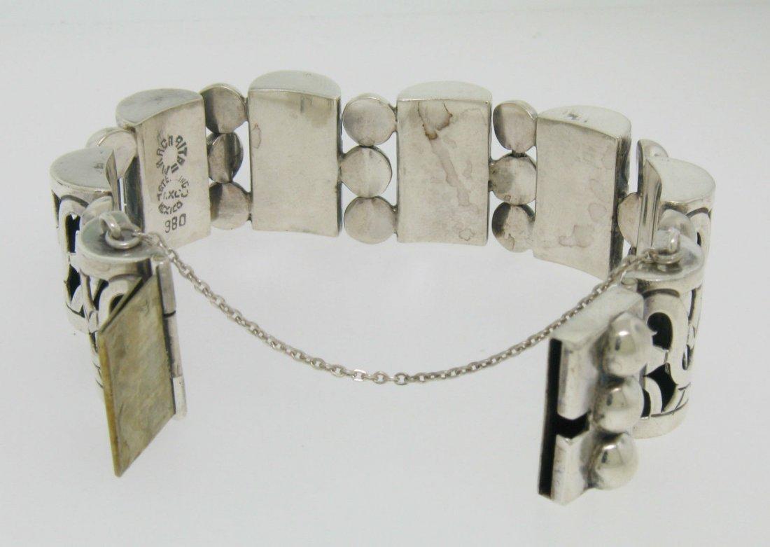 Vintage TAXCO .980 Silver Large Bracelet by MARGARITA - 4