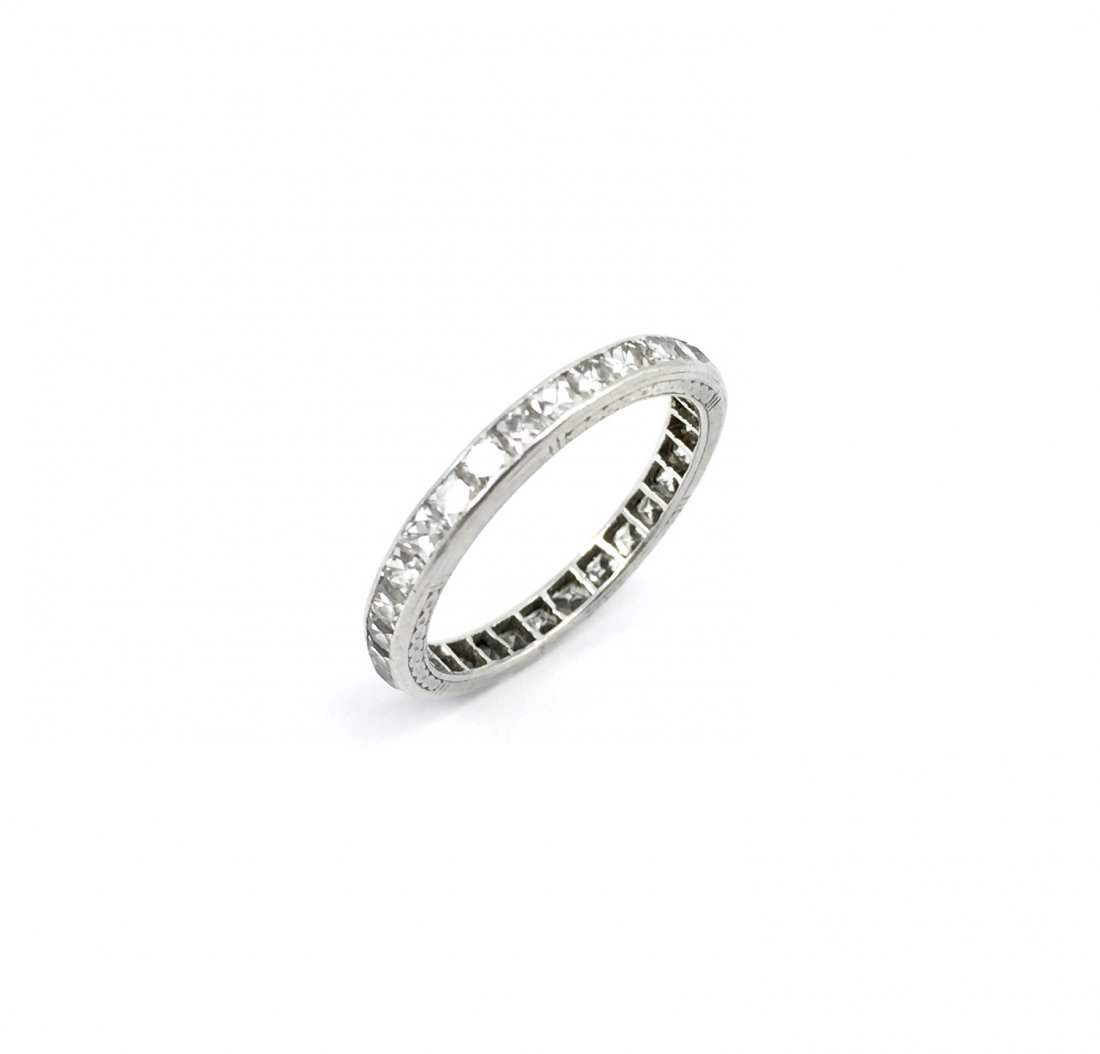 Art Deco French Cut Diamond Eternity Band Ring