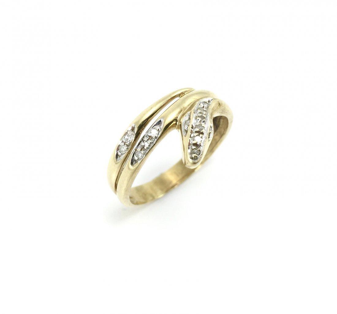 10K Diamond Snake Ring