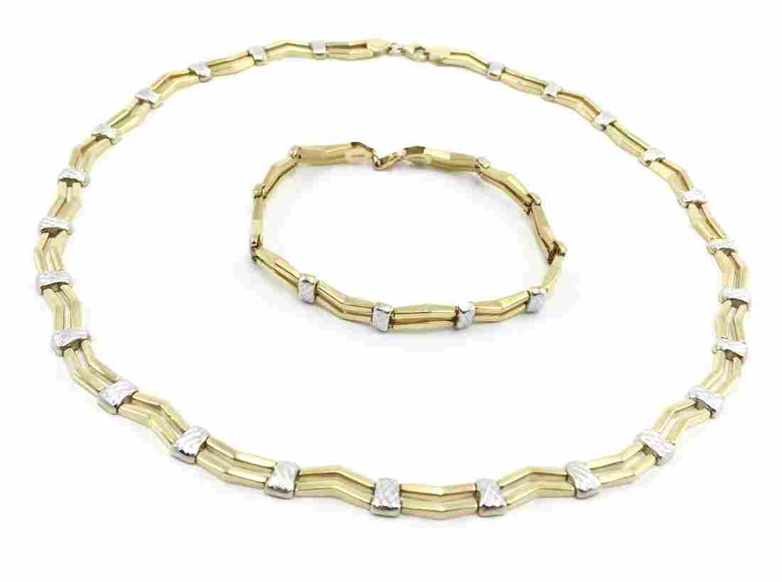 14K Zigzag Necklace And Matching Bracelet