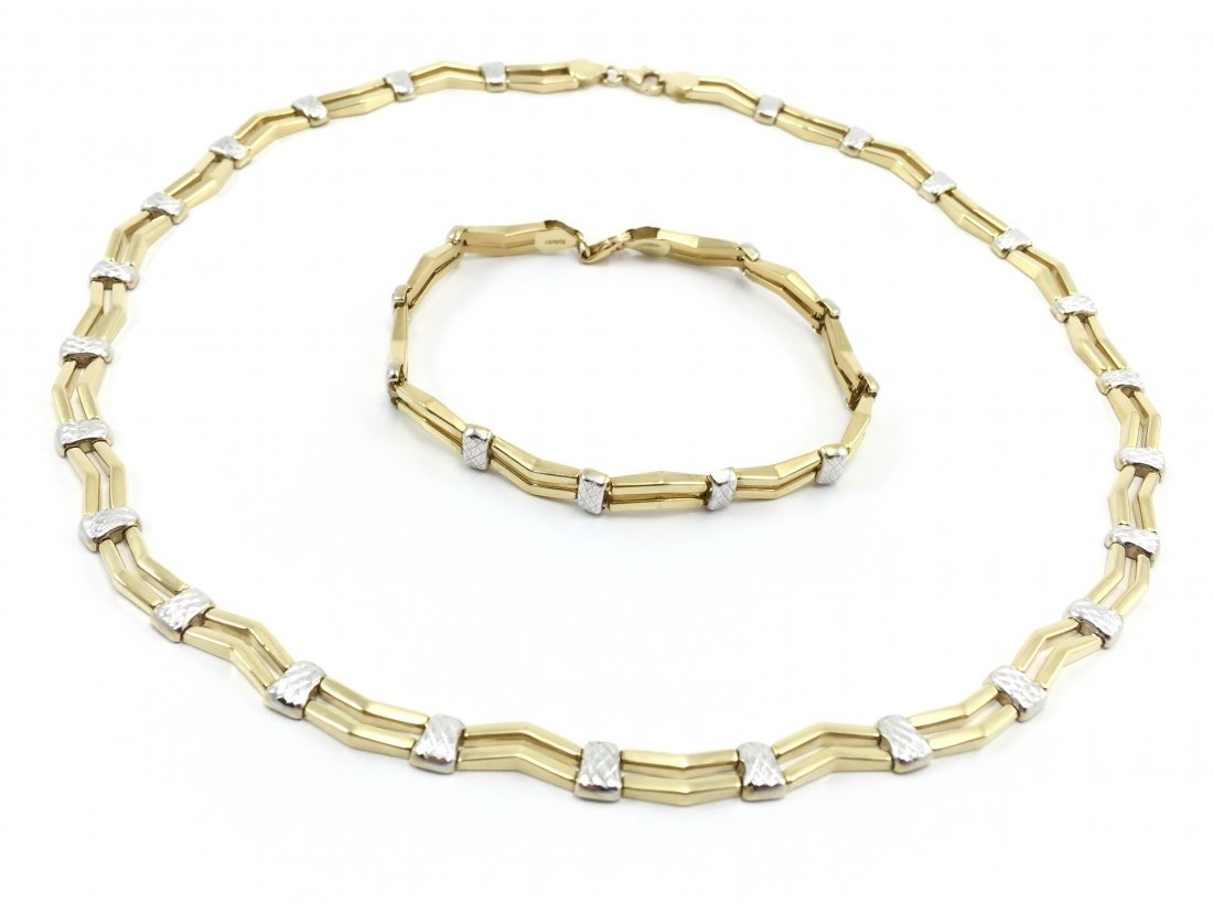 14K Zigzag Necklace And Matching Bracelet