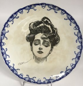 Royal Doulton Seriesware Gibson Girl Portrait Plate, D.