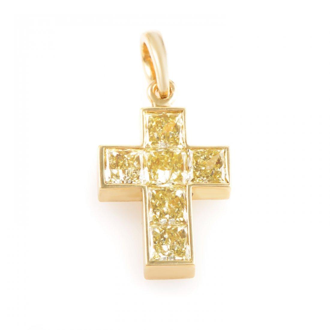 Cartier 18K Yellow Gold Fancy Yellow Diamond Cross