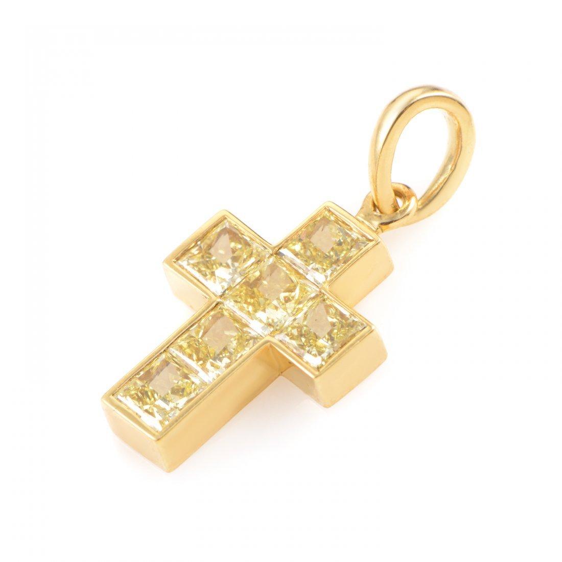 Cartier 18K Yellow Gold Fancy Yellow Diamond Cross - 2